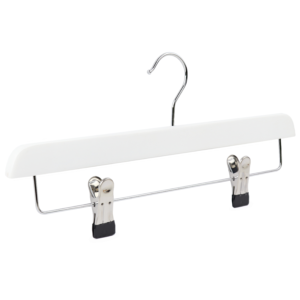wooden hanger white trouser with clips 402-468