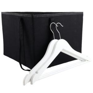 Coat Hanger Storage Organiser Bag, Black Canvas