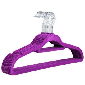 Purple Velvet Coat Hanger, Slimline & Space-Saving, 42cm